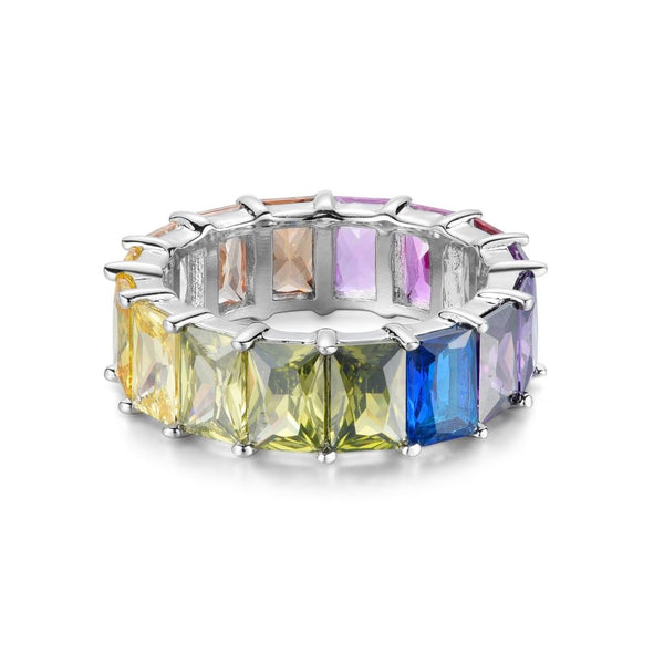 MULTICOLORED ETERNITY STERLING SILVER BAND RING - My Super Hot Deals
