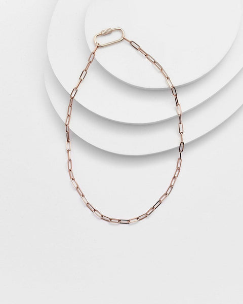 EMILY PAPER CLIP FLAT PAVÉ LOCK NECKLACE - My Super Hot Deals