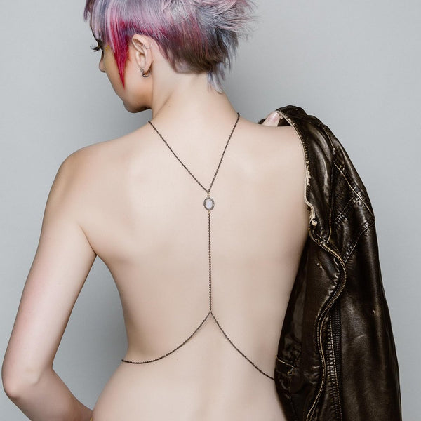 "The ""Moon Child"" Diamond and Rainbow Moonstone Body Harness - My Super Hot Deals"