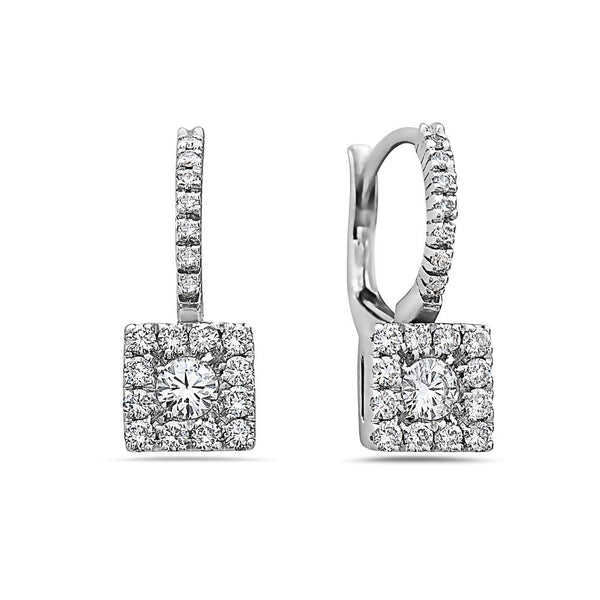 SMALL MADE IN ITALY SQUARE CLUSTER ILLUSION ROUND DIAMONDS DROP EARRINGS - My Super Hot Deals