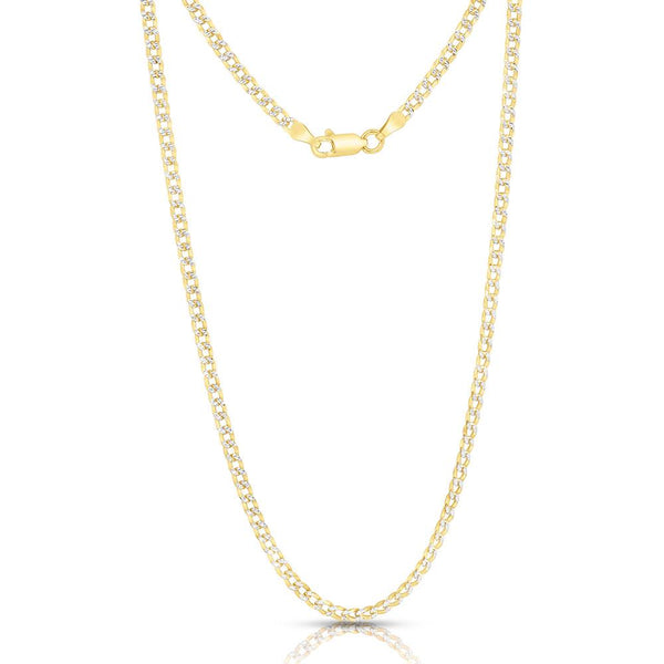 STERLING SILVER MADE IN ITALY 14K 4 MM CURB CHAIN NECKLACE - My Super Hot Deals