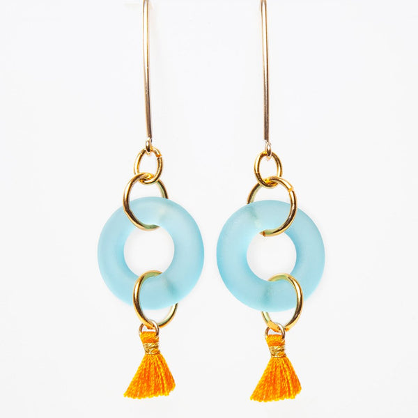 MINI TASSEL EARRINGS AQUA - My Super Hot Deals