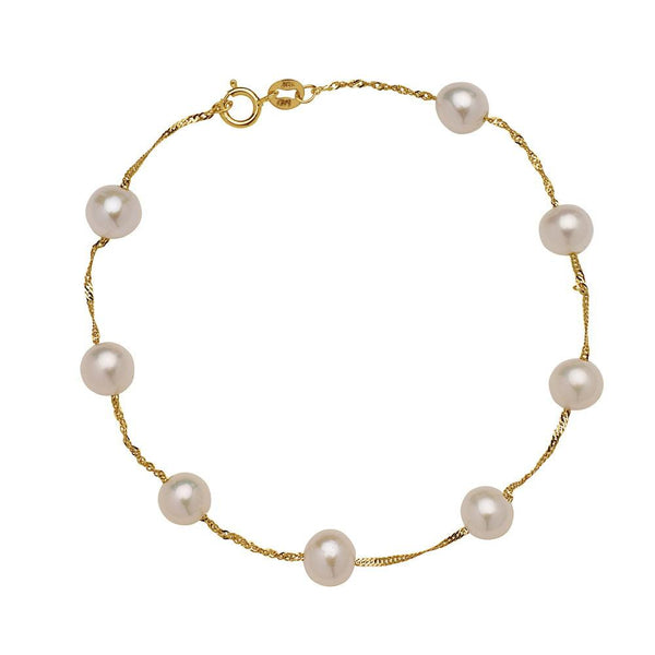 YELLOW Gold PEARL BRACELET - My Super Hot Deals