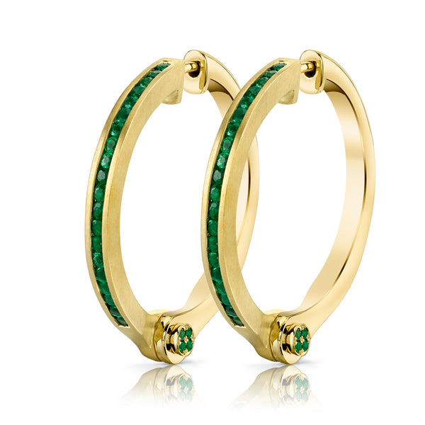 BORGIONI - 18k Yellow Gold Pave Emerald Handcuff Hoop Earring .79cts Emerald - My Super Hot Deals