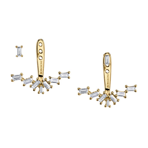 BORGIONI - 18K Yellow Gold Single Row Diamond Baguette Ear Jackets .52cts. baguettes - My Super Hot Deals