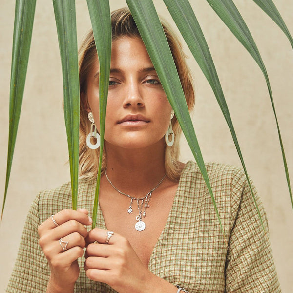 Akumal | Silver Nacre Statement Earrings - My Super Hot Deals