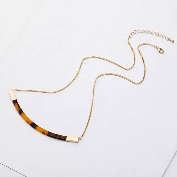 Brown Tortoise Shell Gold Accent Necklace - My Super Hot Deals