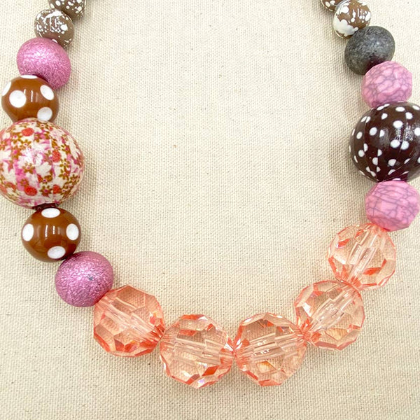 The Queen Mum Short Necklace - Pink & Rust - My Super Hot Deals