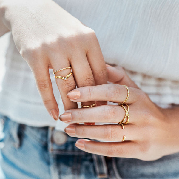 Alexe | Gold Vermeil X Ring - My Super Hot Deals