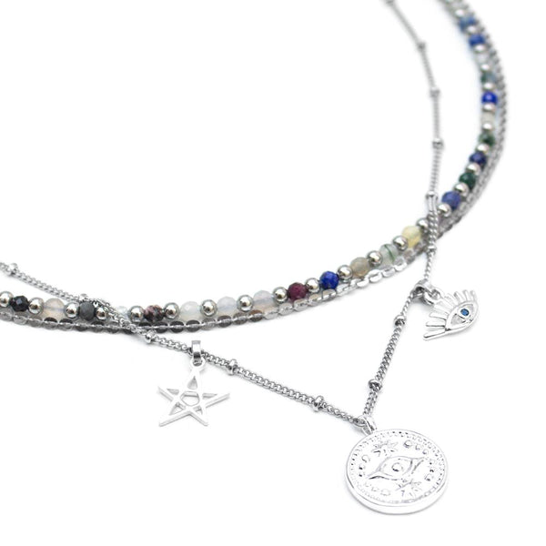 Hamseye | Silver Layered Evil Eye Necklace - My Super Hot Deals