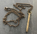 Men's Necklace, Antiqued Brass Bar, Unisex Jewelry - My Super Hot Deals