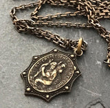 Men's Necklace, Vintage Style St. Christopher, Protection, Protect Us, Patron of travelers, 20 or 24 inches, Antiqued Brass - My Super Hot Deals