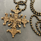 Men's Necklace with Large Ornate Cross, 20 Inch Ball Chain, Unisex, Men's Fashion - My Super Hot Deals