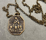Men's Crucifix Necklace, Mary of 7 Sorrows, Antiqued Brass Bronze Unisex Religious Jewelry - My Super Hot Deals