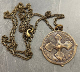 Men's Cross Necklace, Archangel St. Michael, Antiqued Brass and Bronze Unisex Jewelry - My Super Hot Deals