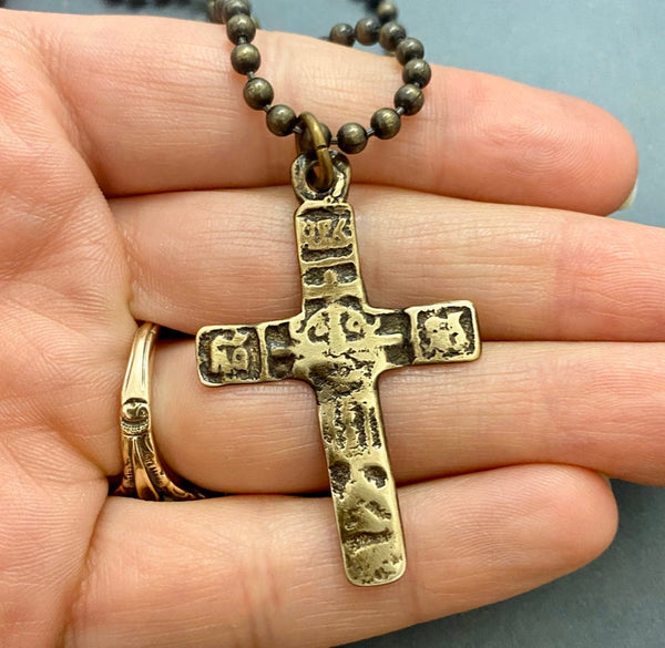 Ancient Cross on Men's Brass Bead Chain, Unisex Necklace, Antiqued Medieval Cross, Men's Fashion - My Super Hot Deals