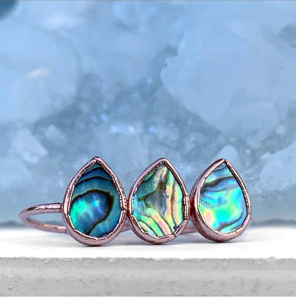 Teardrop Abalone Shell Ring - My Super Hot Deals