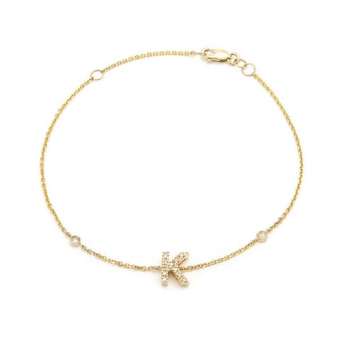 JANE BASCH  14K Yellow Gold Initial Single Micro Pave Diamond Bracelet - My Super Hot Deals