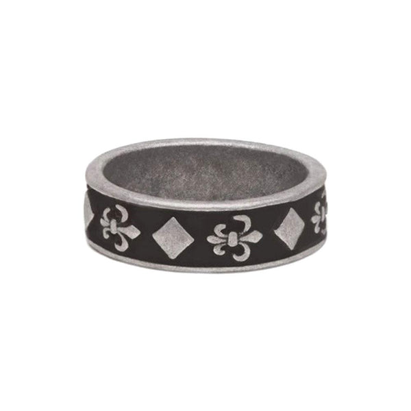 AGED 7mm SQUARE AND FLEUR DE LIS BAND RING - My Super Hot Deals