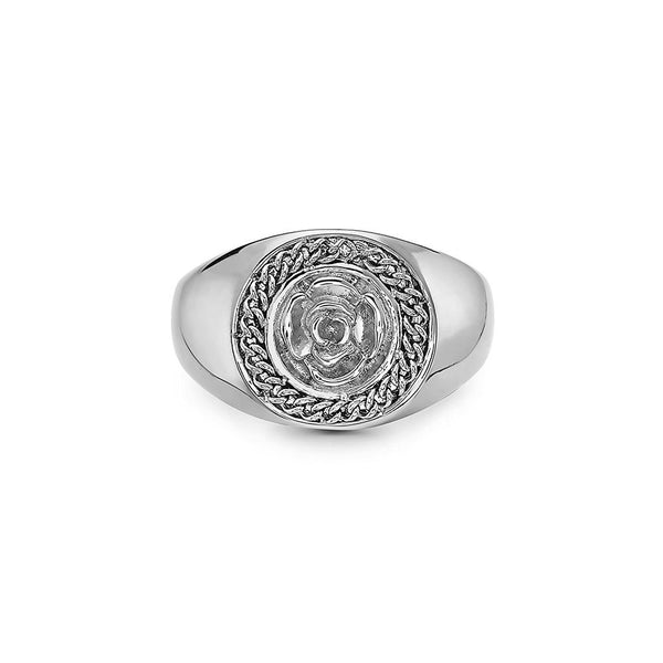 FLOWER GARDEN LEAVES CURB CHAIN CROWN SIGNET RING - My Super Hot Deals