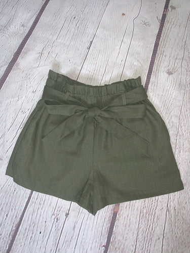 Belted Linen Blend High Waist Short
