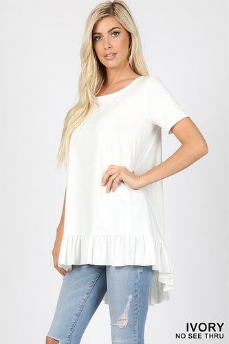 Ruffle Bottom Hi Lo Top Ivory