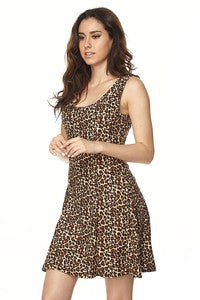 Leopard Fitted Flaire Mini Dress