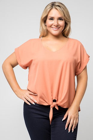Rust Tie Front Blouse