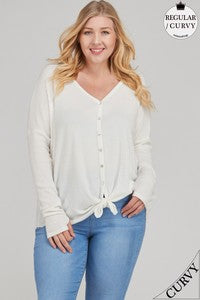 Curvy Tie Front Waffle Knit