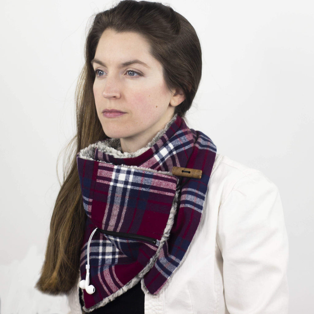 Wilderspin Scarves Faux Fur and Flannel Neck Wrap Scarf with Front Pocket Cranberry & Navy Plaid Silver Fox Fur Pocket Scarf