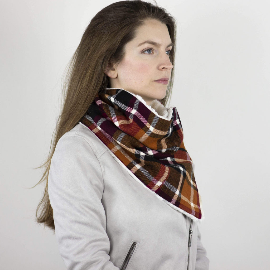 Wilderspin Scarves Faux Fur and Flannel Neck Wrap Scarf with Front Pocket Orange/Berry/Black Plaid Biscotti Fur Pocket Scarf