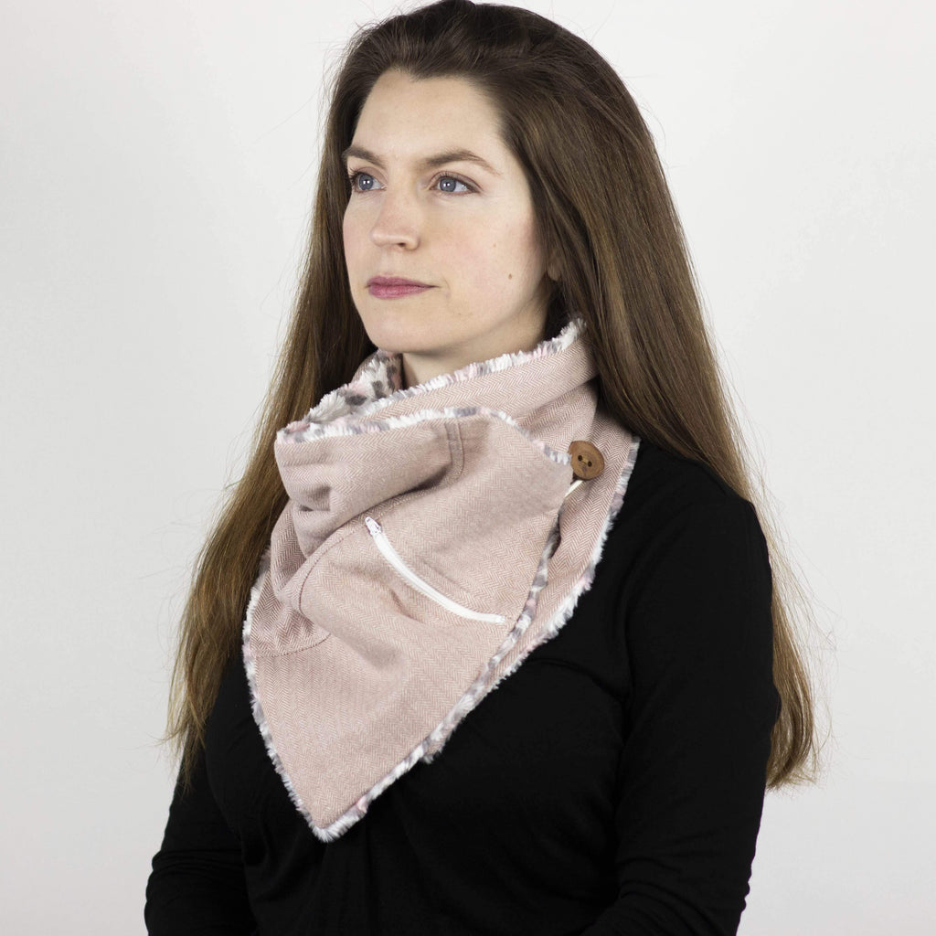 Wilderspin Scarves Faux Fur and Flannel Neck Wrap Scarf with Front Pocket Pink Herringbone Pink Leopard Fur Pocket Scarf