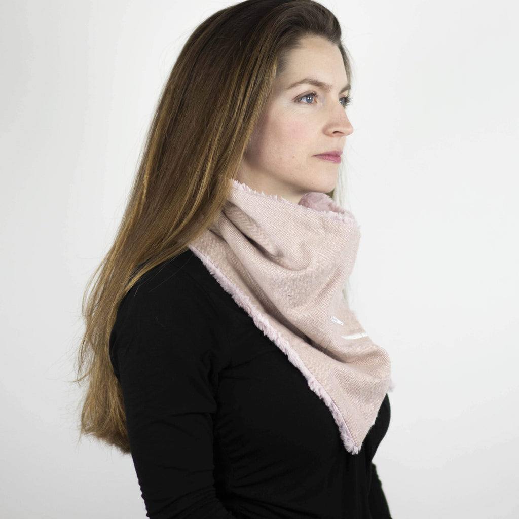 Wilderspin Scarves Faux Fur and Flannel Neck Wrap Scarf with Front Pocket Pink Herringbone Solid Pink Fur Pocket Scarf