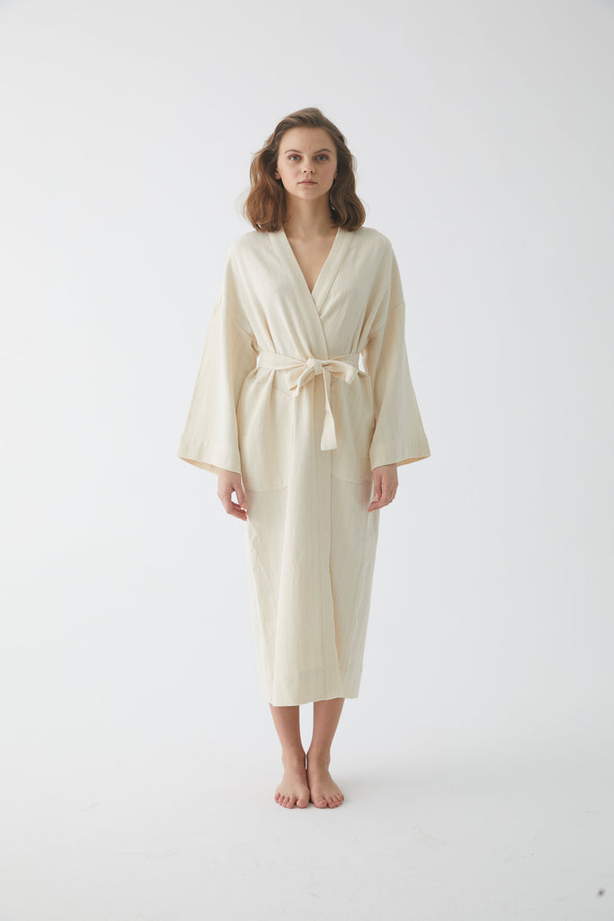 natural robe with hidden pockets and snug waist tie