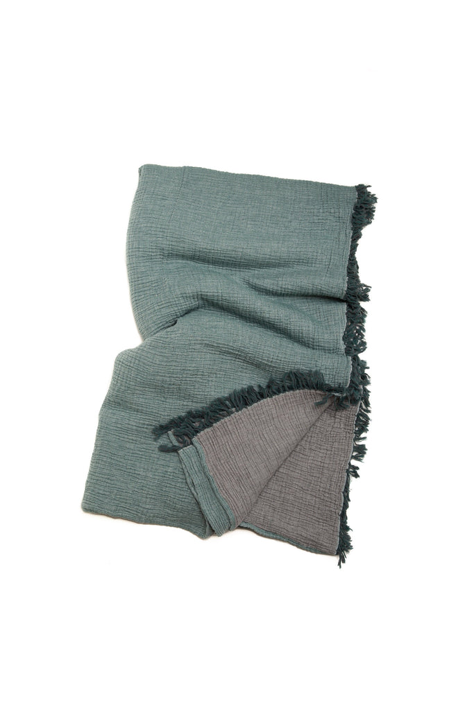 reversible forest green/dark grey double gauze soft blanket