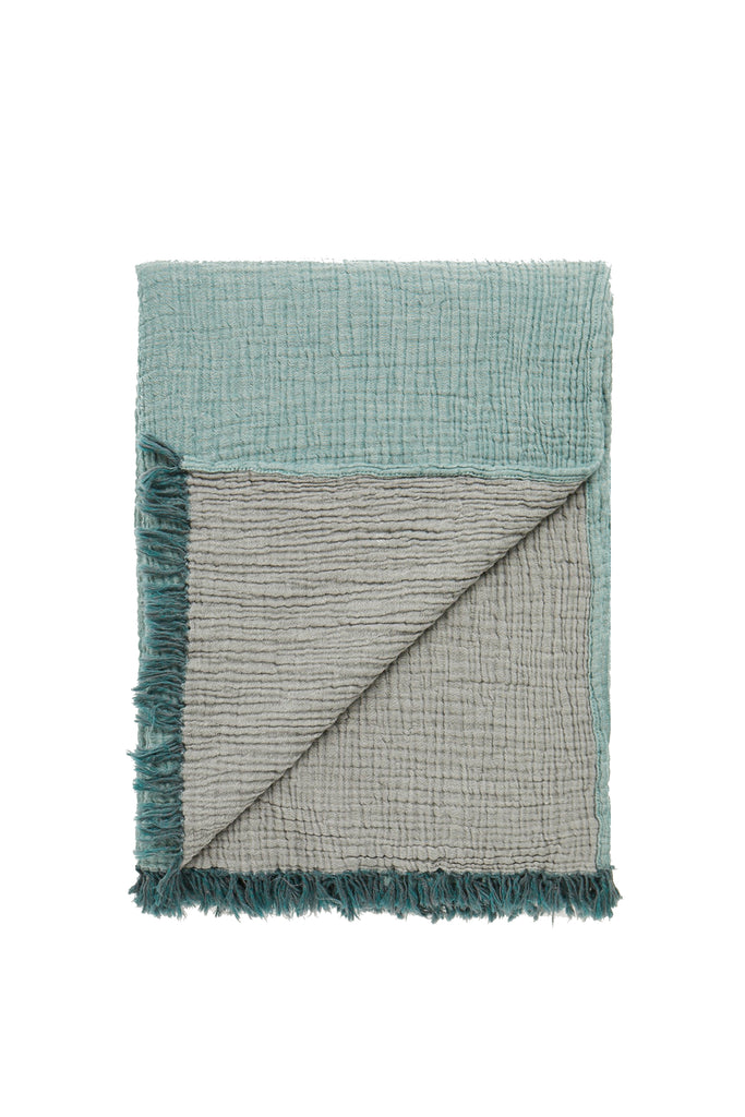 reversible double gauze forest green/dark grey soft throw blanket