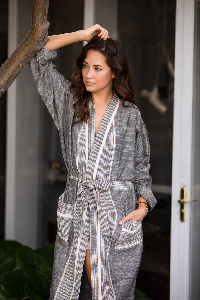 dark grey robe with cream colored thin stripes