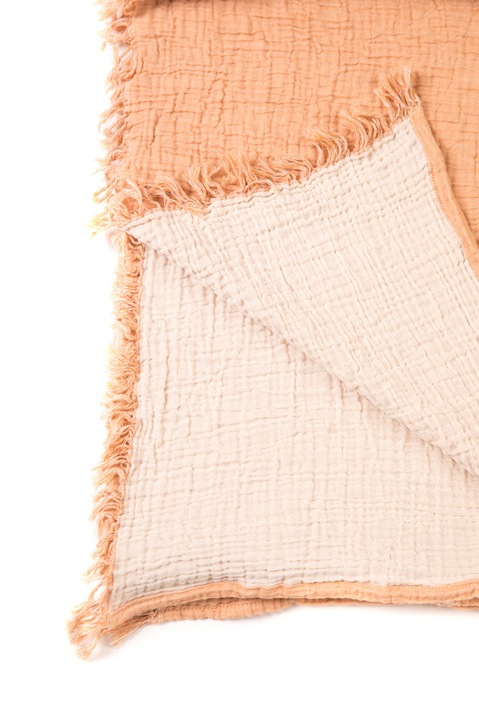 reversible forest peach/cream double gauze soft blanket