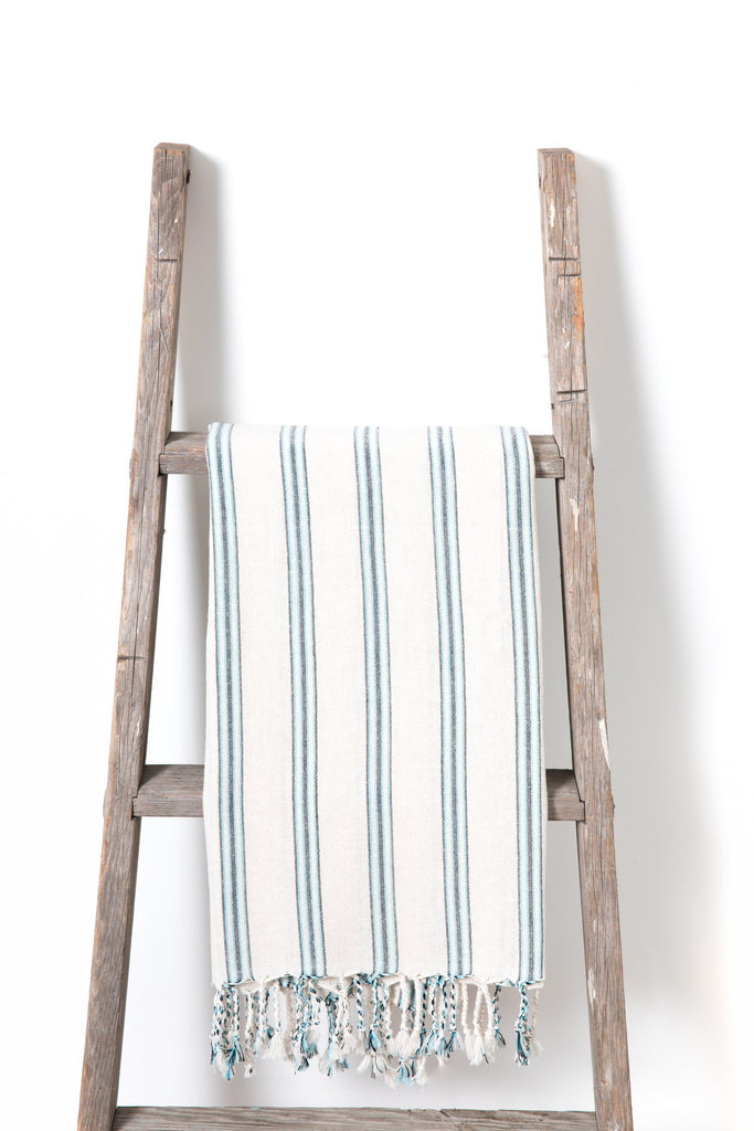 Turkish towel with aqua green thin stripes