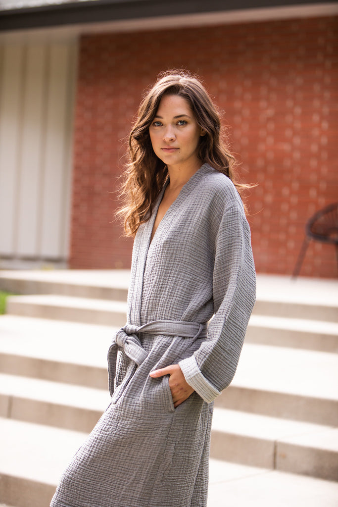 reversible double gauze dark/light grey robe with two slouchy front pockets and a front waist tie