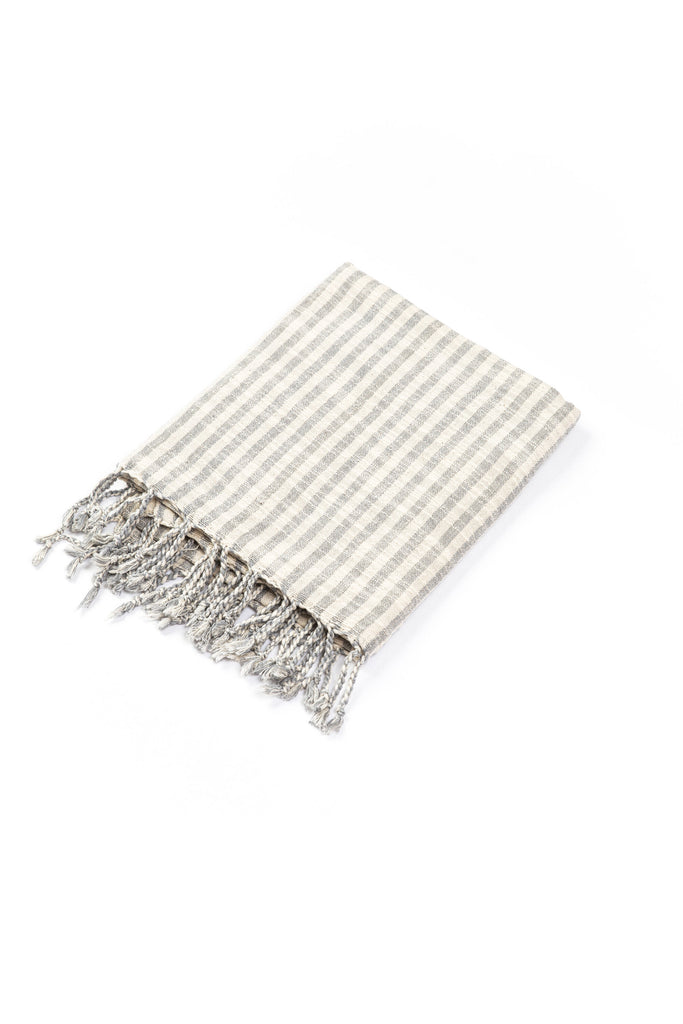 grey and cream striped Turkish towel with tassel fringes
