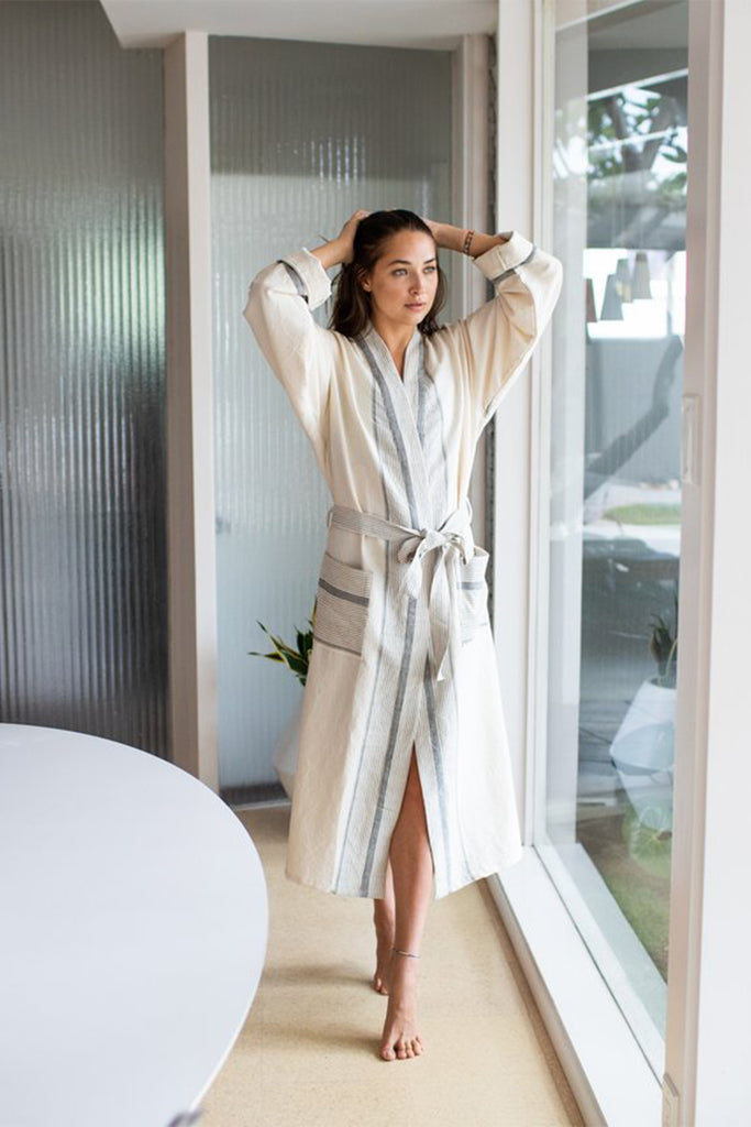 natural cream colored robe with grey stripes