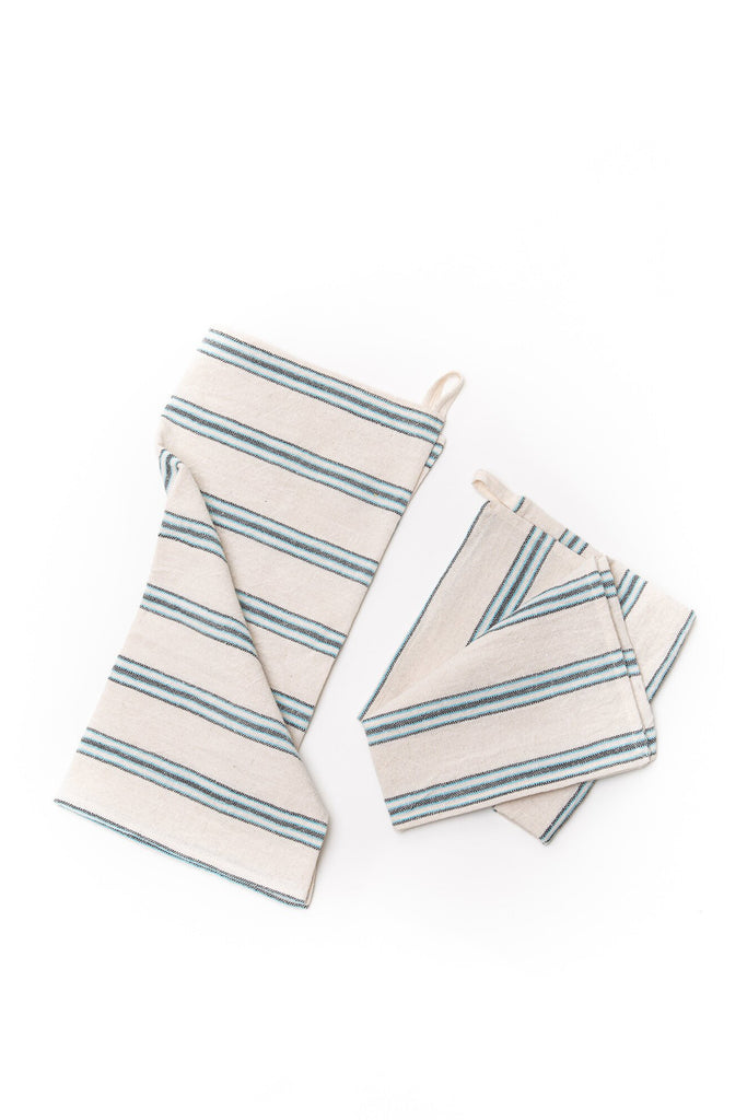 hand towel with aqua green thin stripes