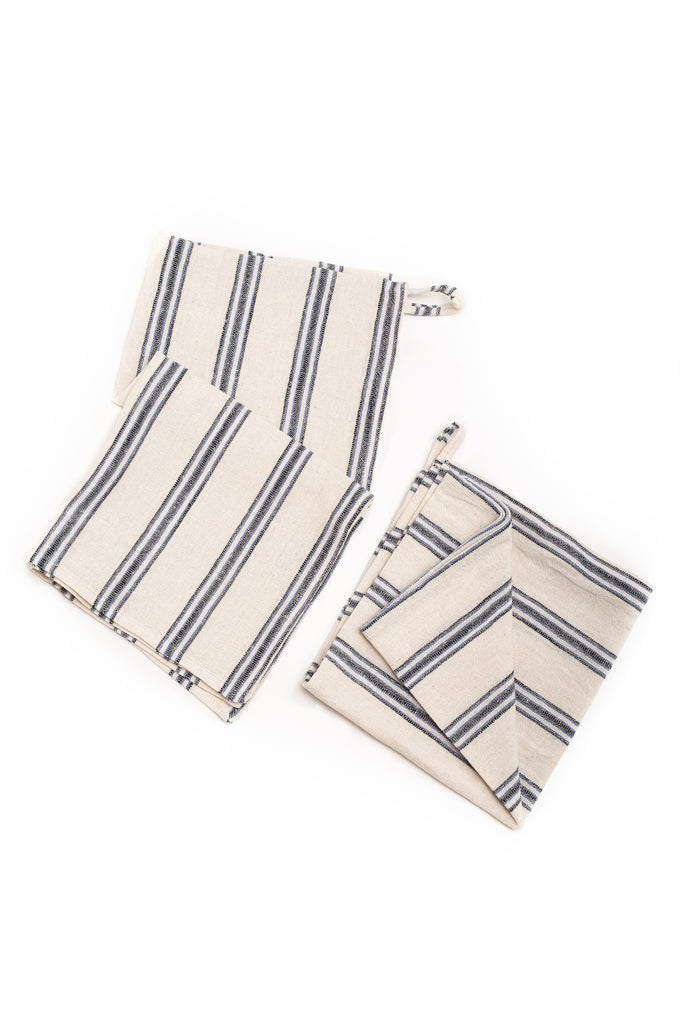 hand towel with denim blue thin stripes
