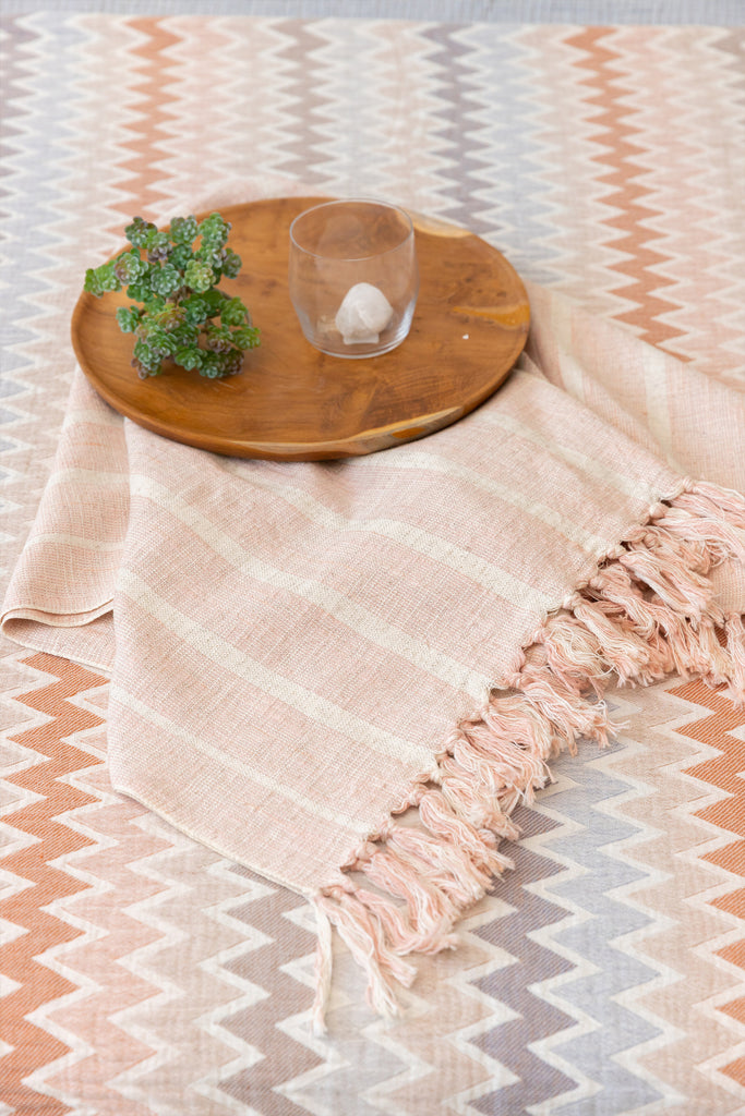 blush Turkish towel with cream stripes