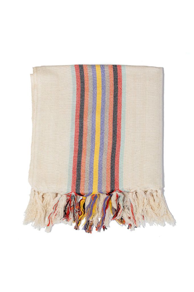 natural colored Turkish towel with thick horizontal rainbow stripes on the edges