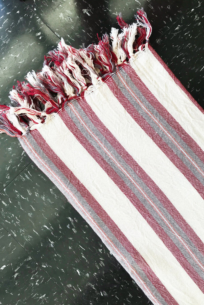 natural Turkish towel with burgundy and dark grey stripes