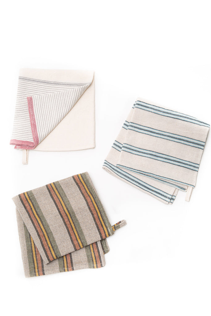 multi-colored striped hand towels