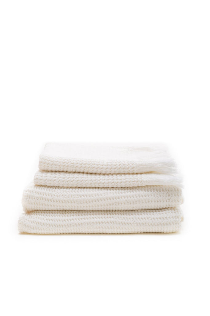 honey comb weaved hand towel in the color white
