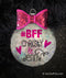 #BFF Best friends sparkly ornament with hot pink bow